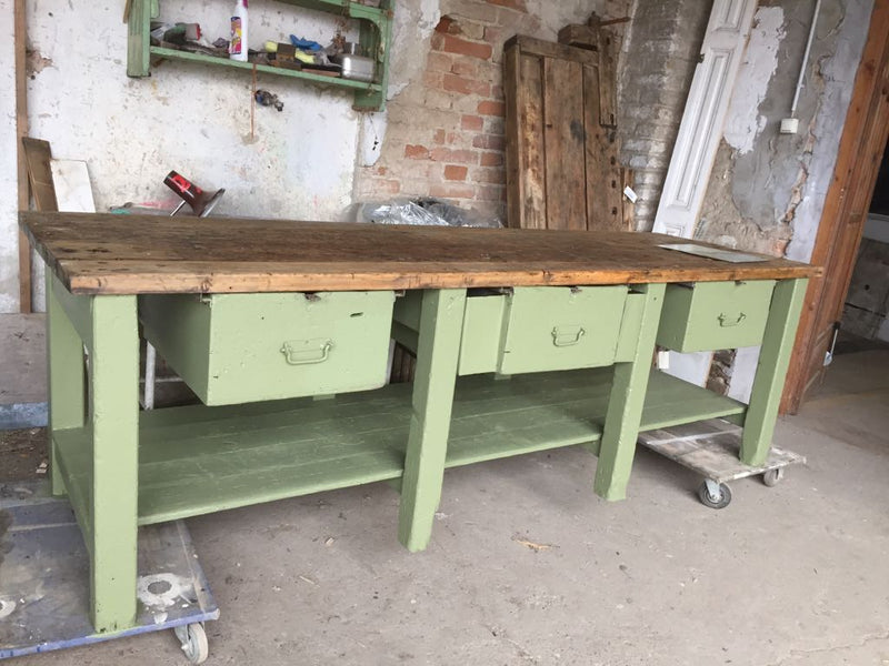 Vintage industrial European workbench table counter  kitchen island #2248