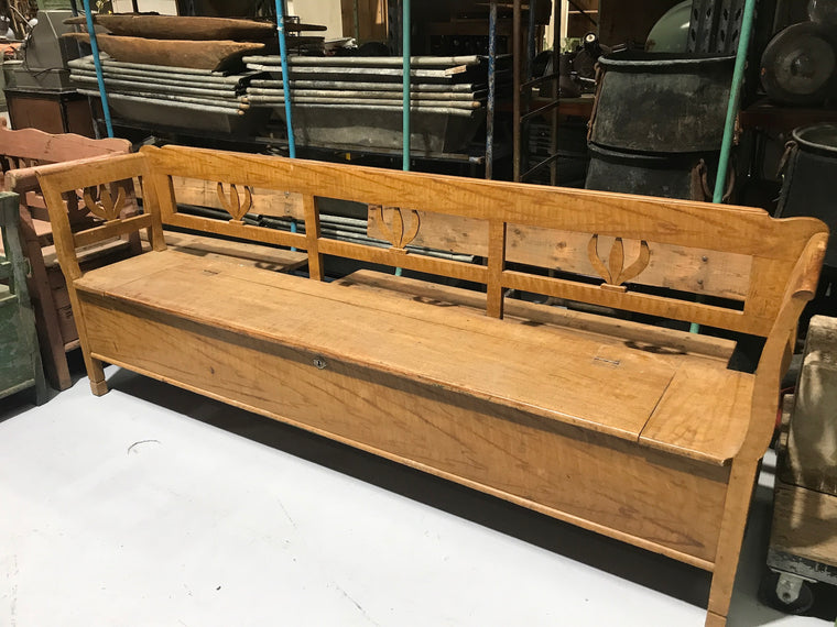 Vintage European wooden kitchen box bench seat #2257