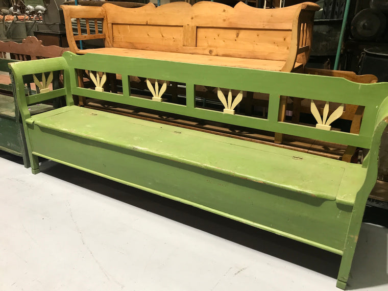 Vintage European wooden kitchen box bench seat #2258