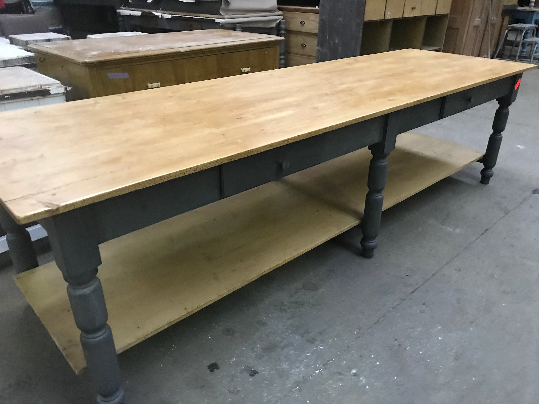 Vintage industrial European FARM kitchen dining table #2263