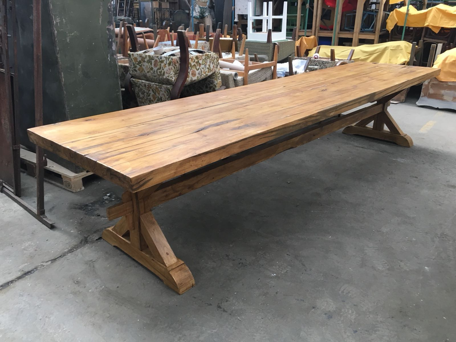 Vintage industrial European OAK FARM kitchen dining table 4 METER #2267