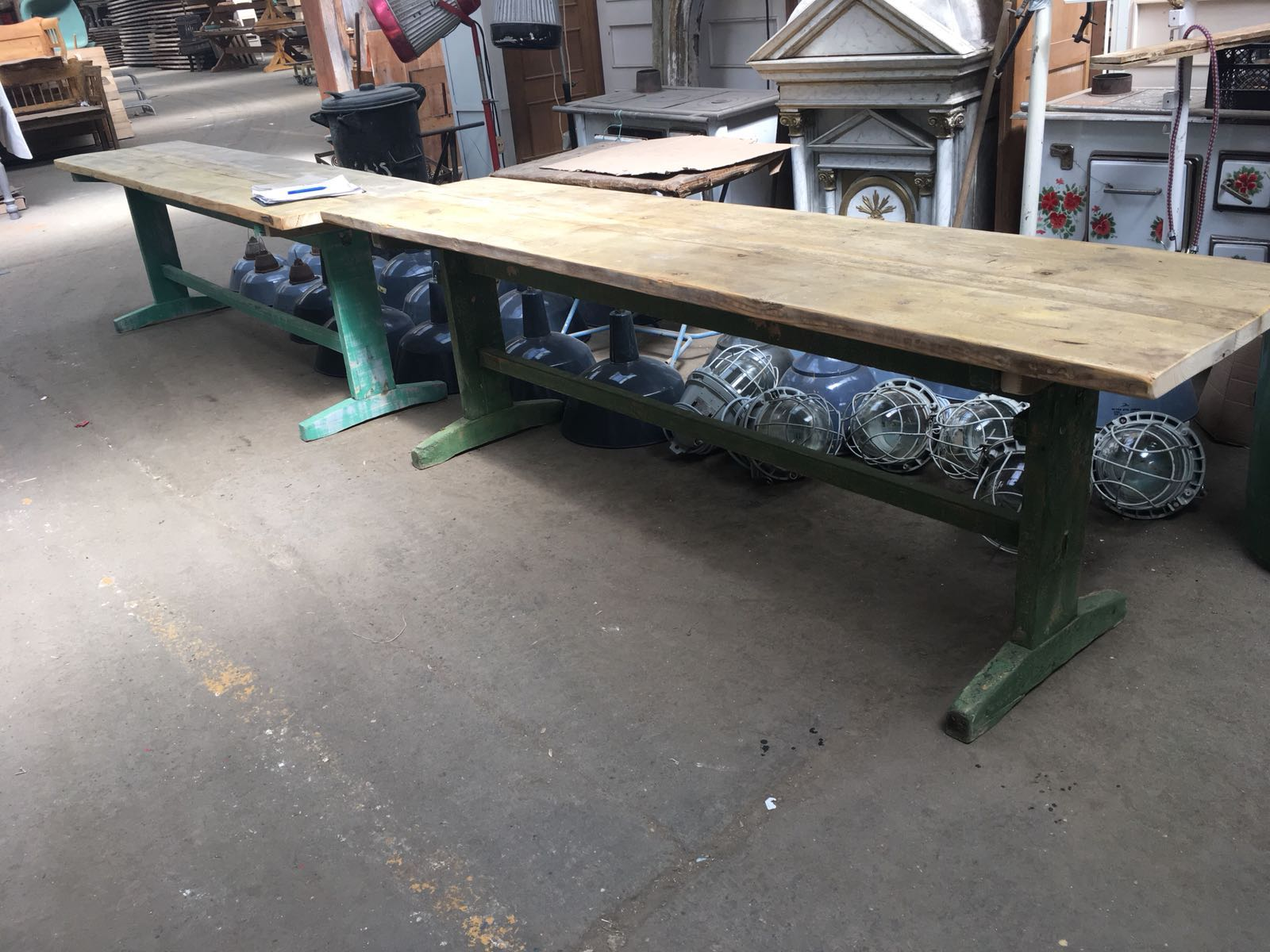 Vintage industrial European FARM kitchen dining table  #2272