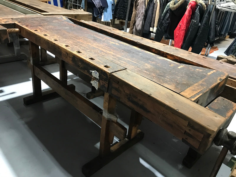 Vintage industrial European carpenters workbench 1920s #2283 #11