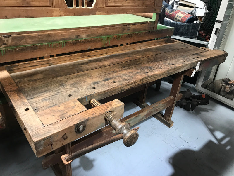Vintage industrial European carpenters workbench 1920s #2284/3 Byron Warehouse