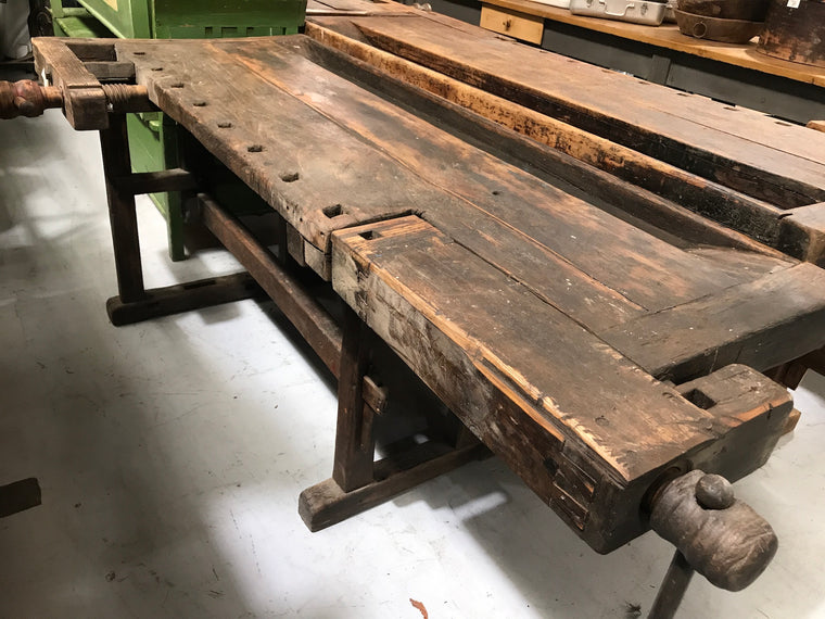 Vintage industrial European carpenters workbench 1920s #2286/7
