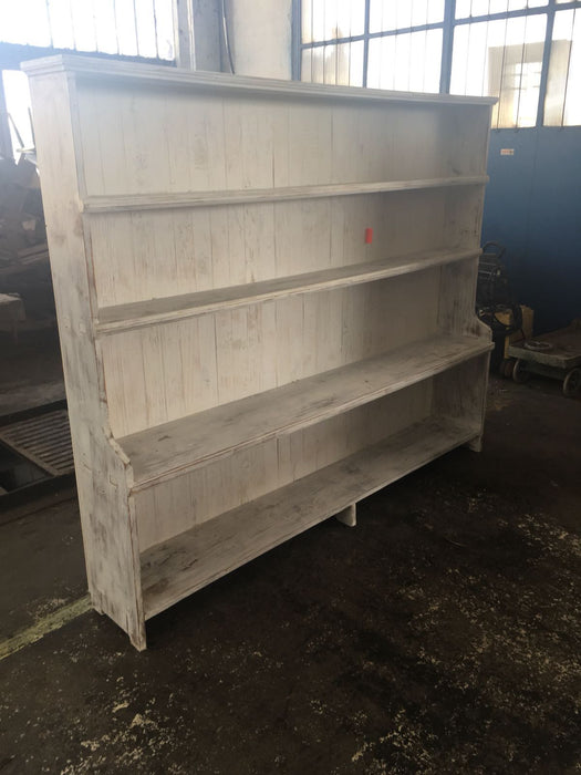 Vintage industrial European wooden kitchen shelving unit #2309