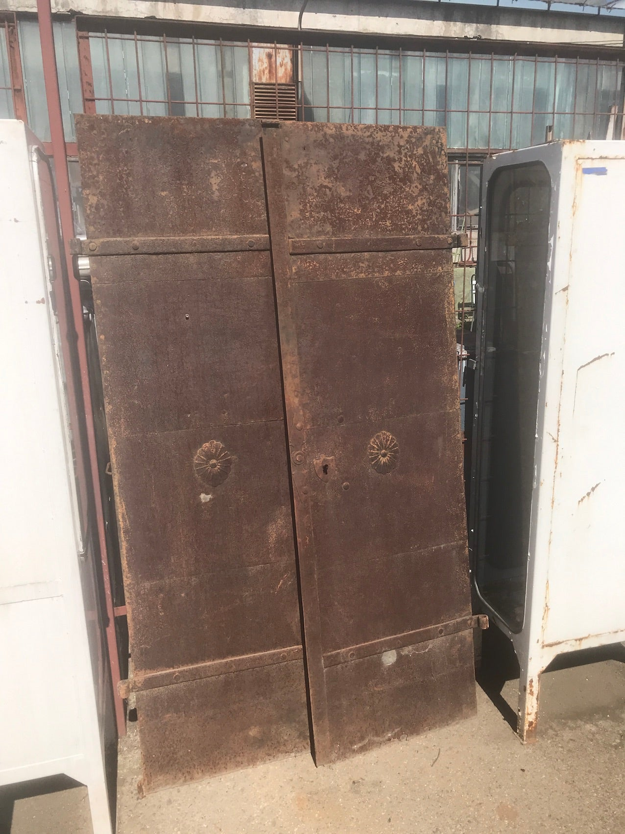 Vintage industrial iron factory doors #2315 end of sep container