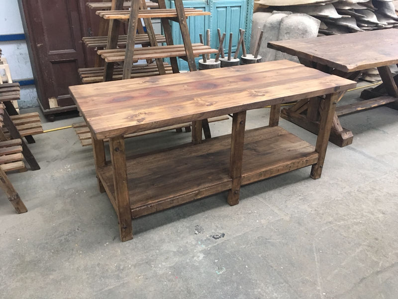 Vintage industrial European workbench table counter  kitchen island 2.0mt #2325