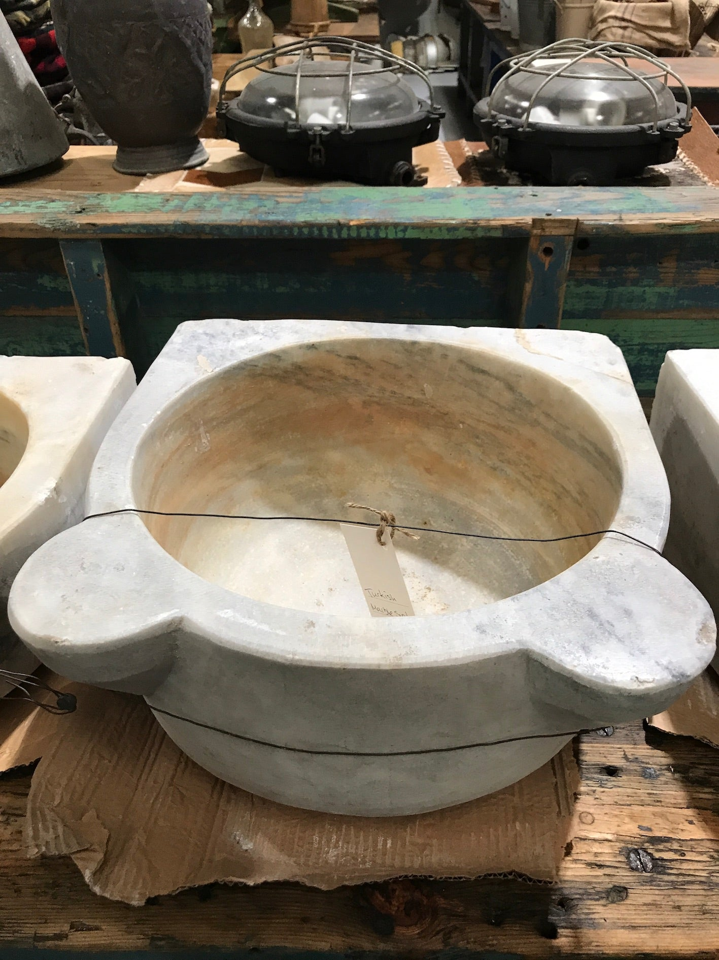 Vintage industrial Turkish Marble sink #2343/e