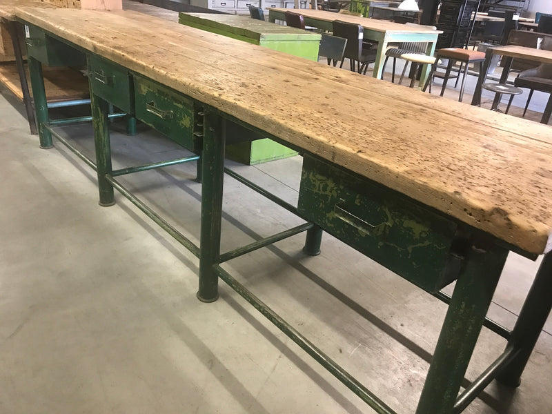Vintage industrial European workbench table counter  kitchen island 3.2mt #2354 Byron Warehouse
