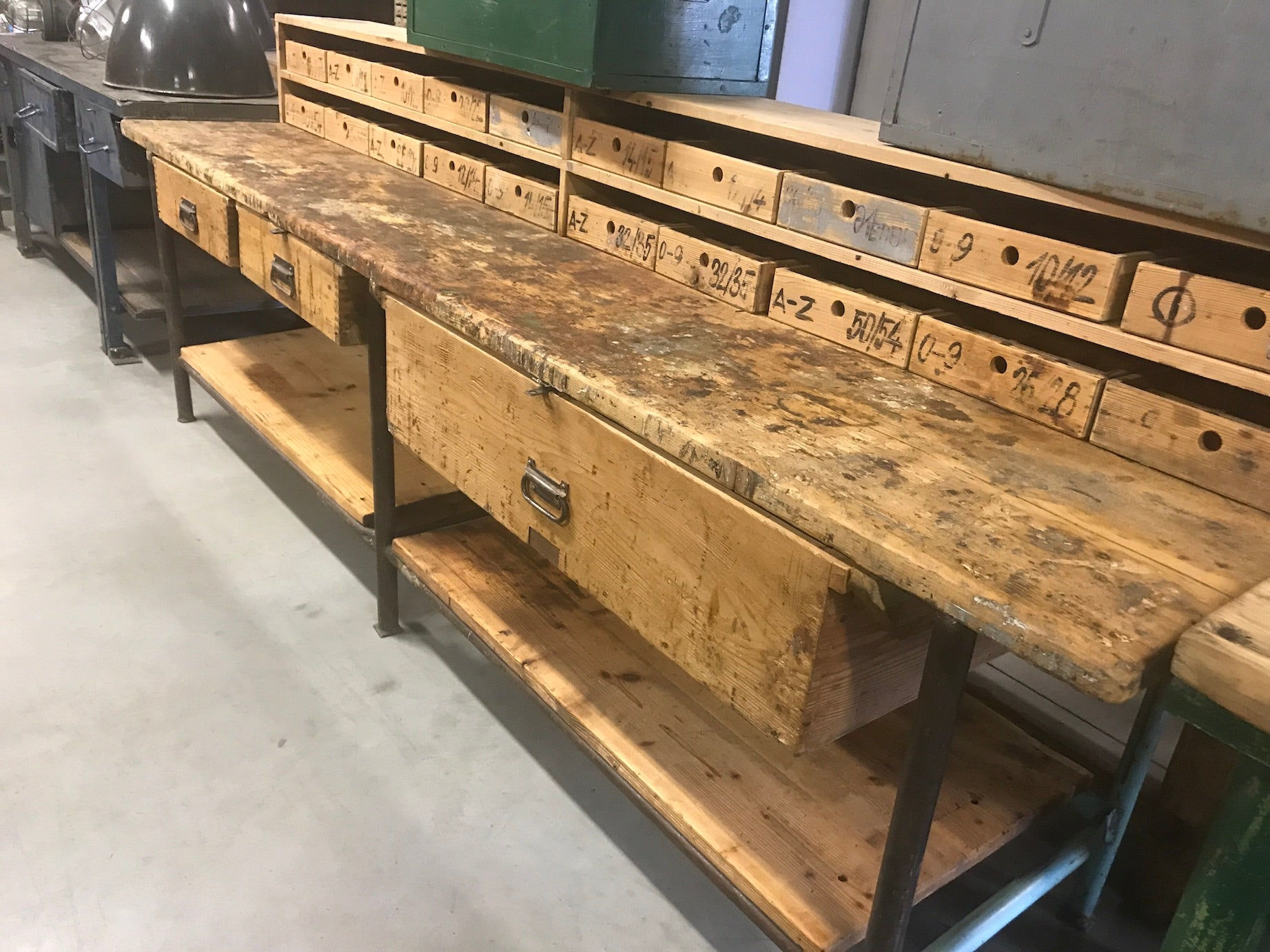 Vintage industrial European workbench table counter  kitchen island 3.0mt #2356 Nov container