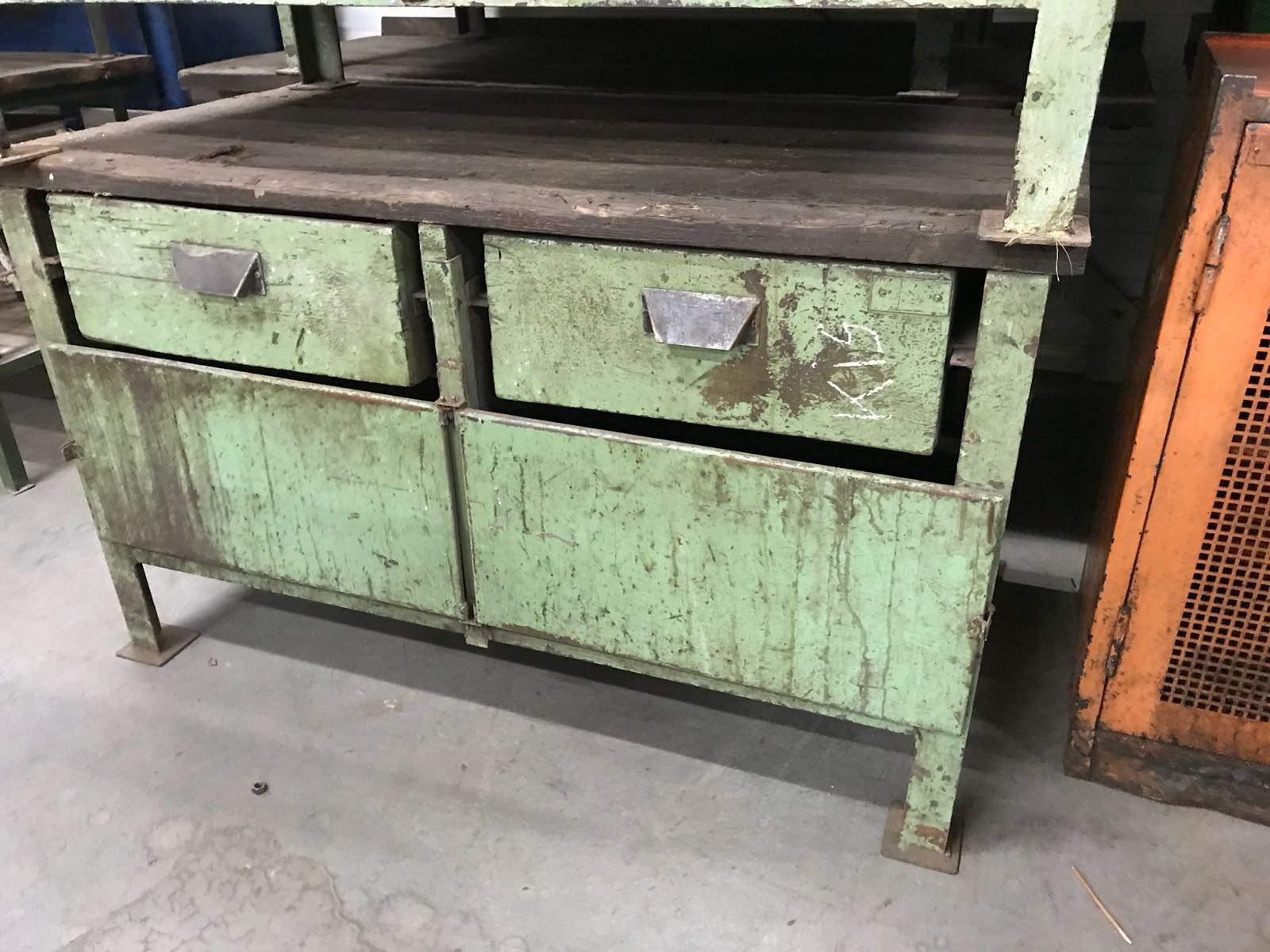 Vintage industrial European workbench table counter  kitchen island  #2364