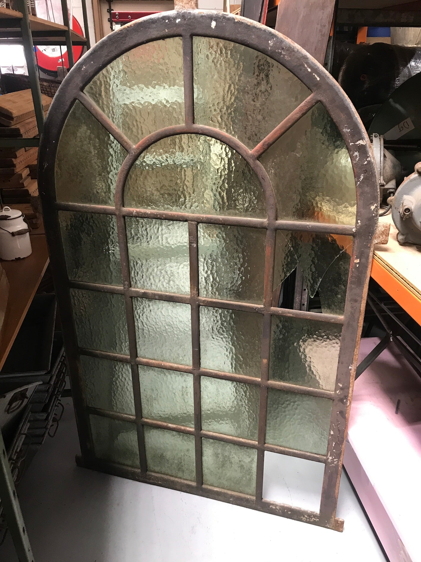 Vintage industrial European cast iron  window #2369
