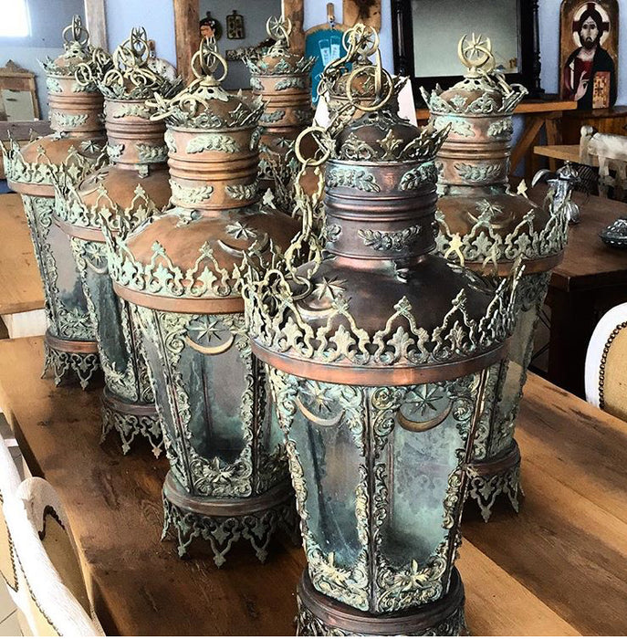 Vintage  Turkish copper Brass and Glass lights #2392