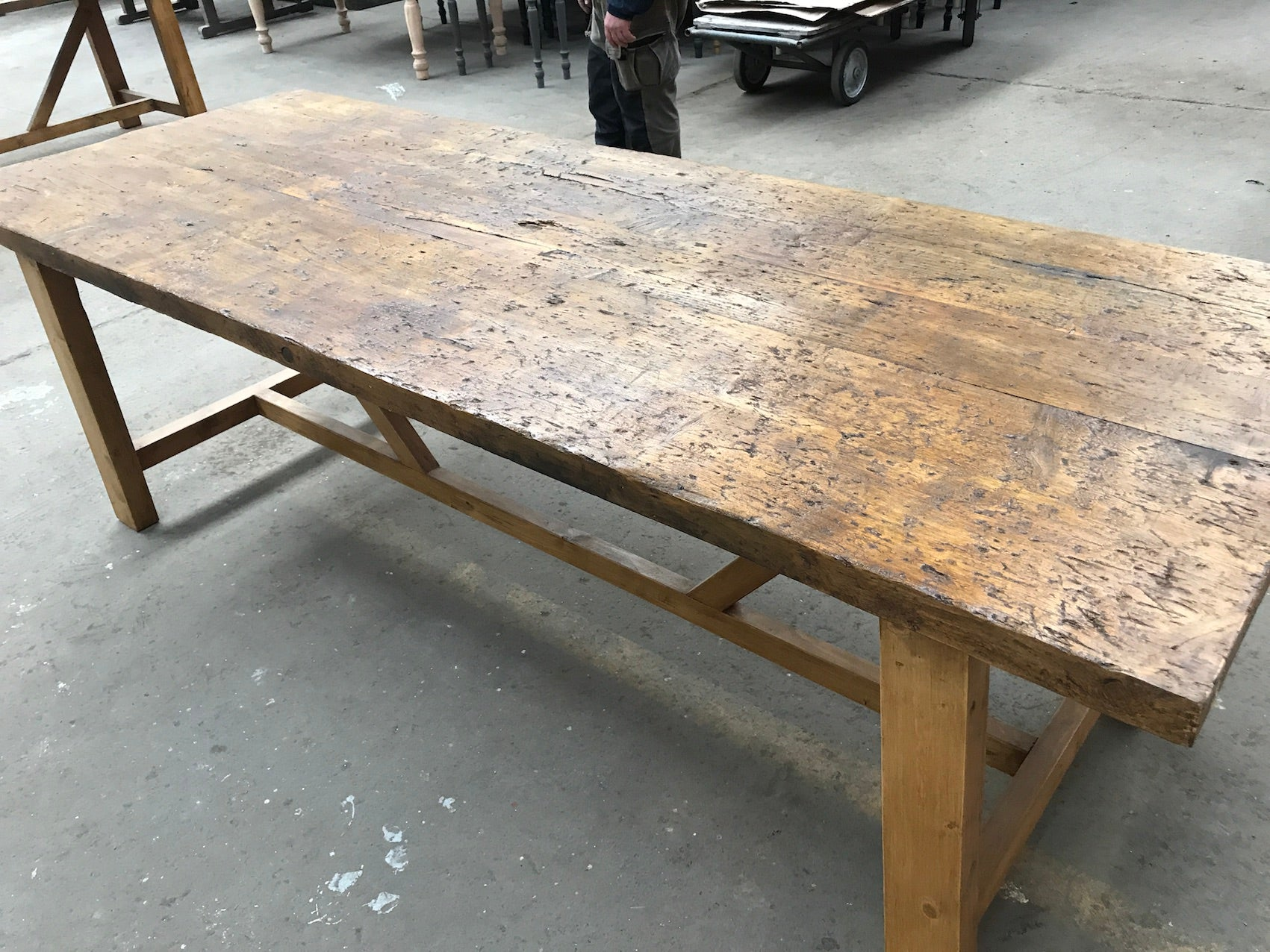 Vintage industrial European kitchen farmhouse dining table  2.4 mt #2399 Byron Warehouse