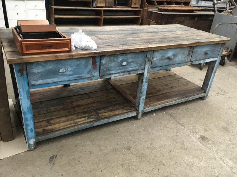 Vintage industrial European workbench table counter  kitchen island #2400 Byron Warehouse