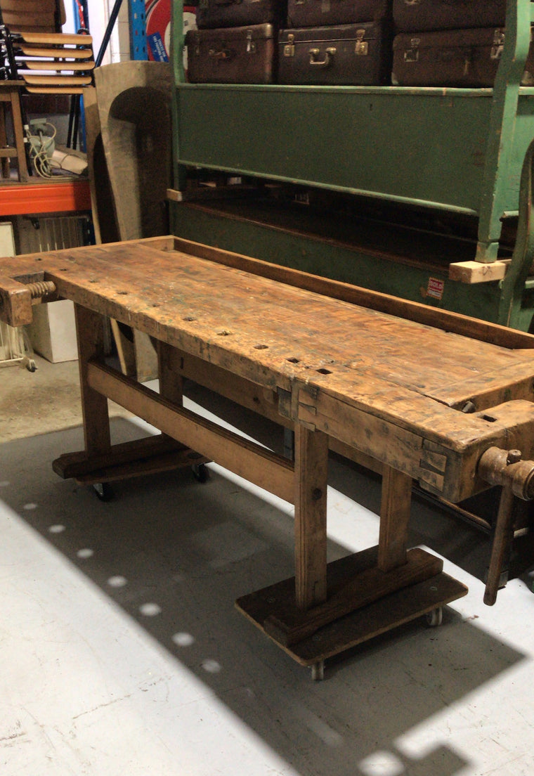 Vintage industrial European carpenters workbench 1920s #2408/2