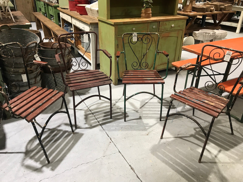Vintage European  iron garden chairs wooden seat and back#2426