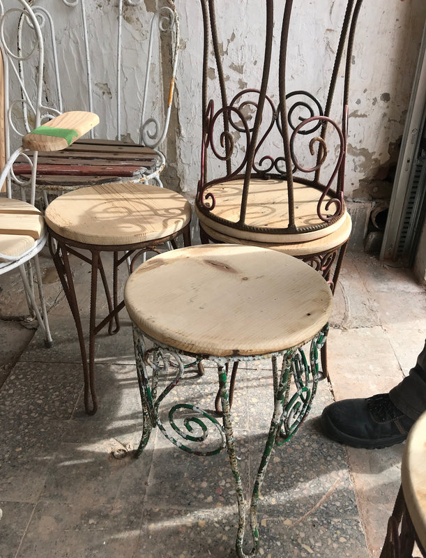Vintage French iron small stool or side table #2428