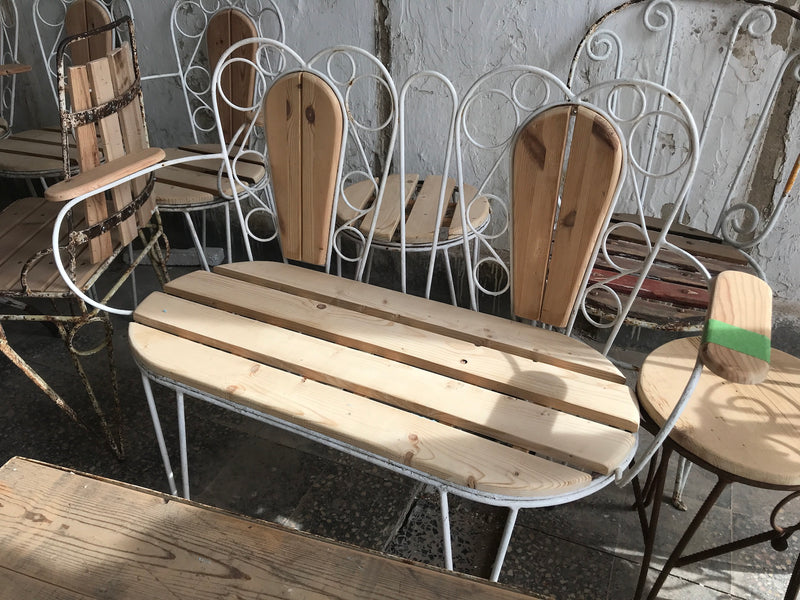 Vintage industrial European garden setting bench and 2 chairs #2429 table not included