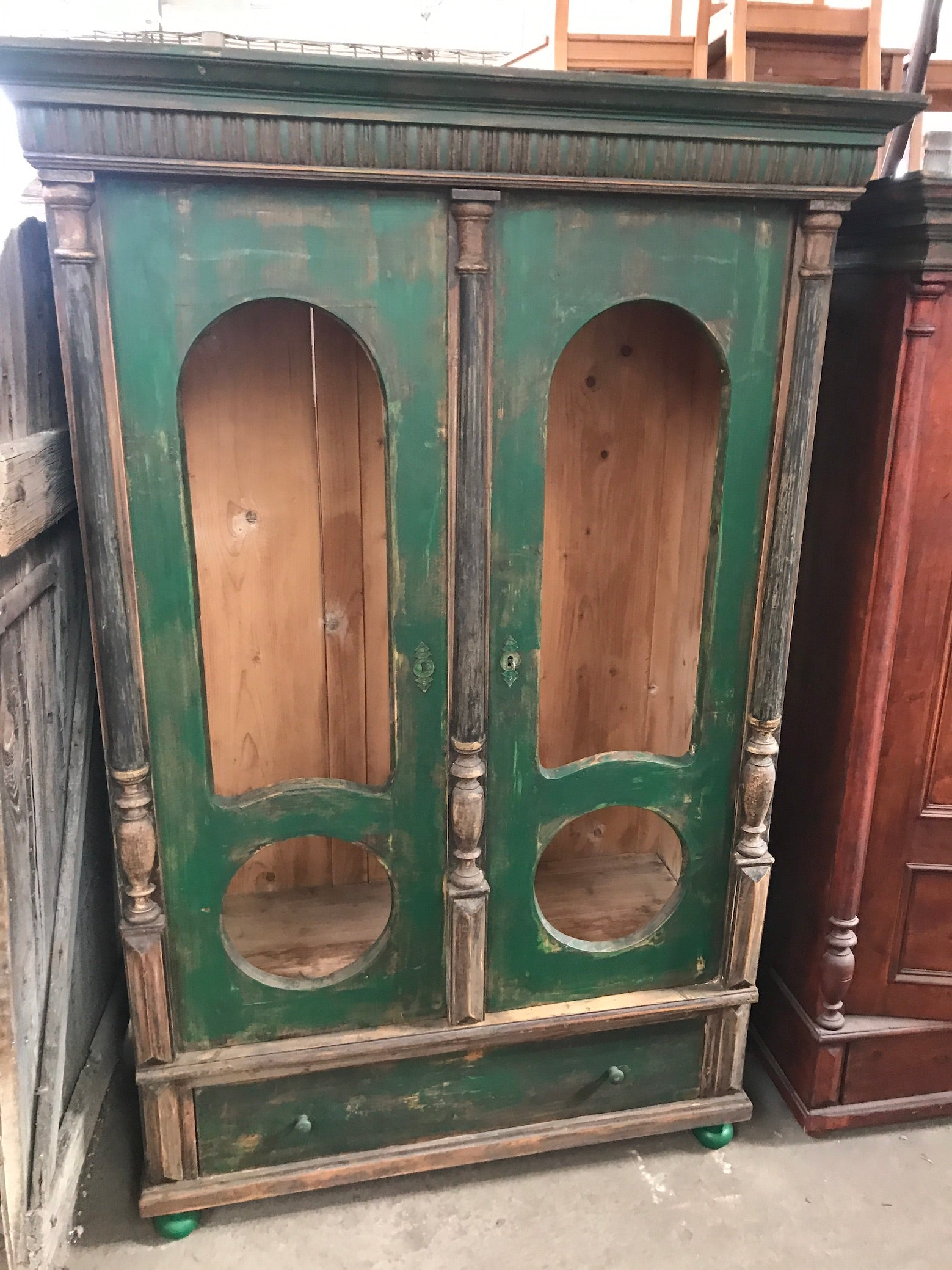Vintage European  kitchen cabinet  #2432 green