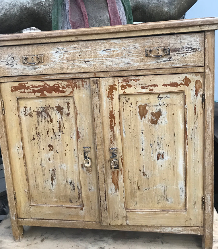 Vintage industrial European wooden  cabinet #2448 coming  August container