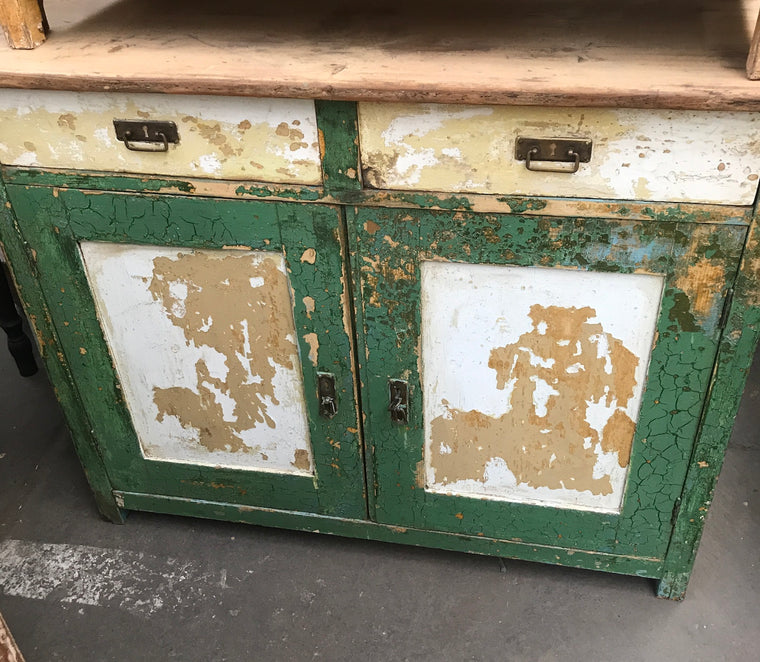 Vintage industrial European wooden  cabinet #2449 coming end of August container