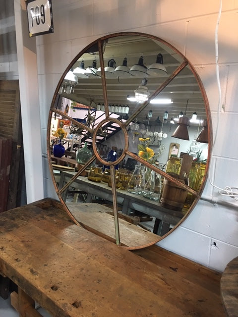 Vintage industrial European church cast iron window #2450 mirror