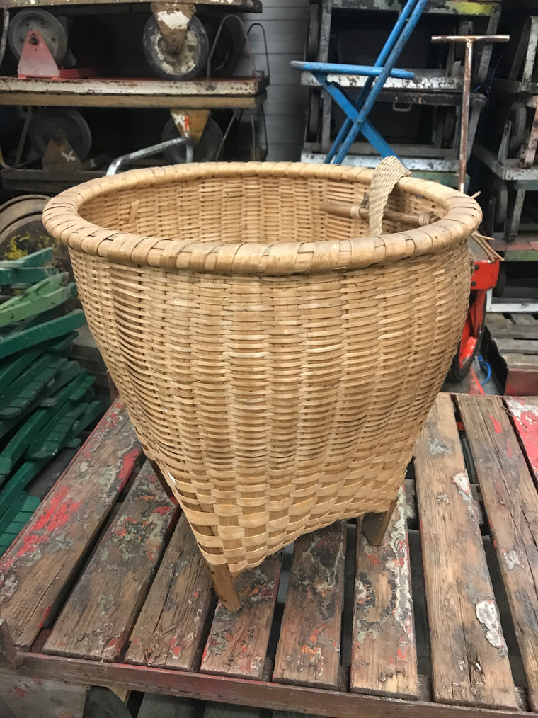 Vintage French cane willow grape picking basket  #2460