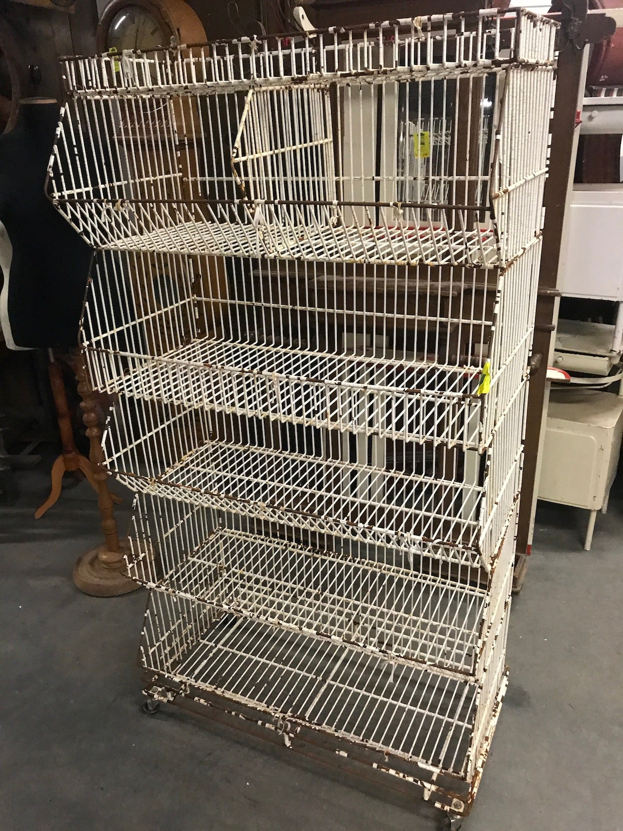 Vintage industrial French shop metal rack #2465.