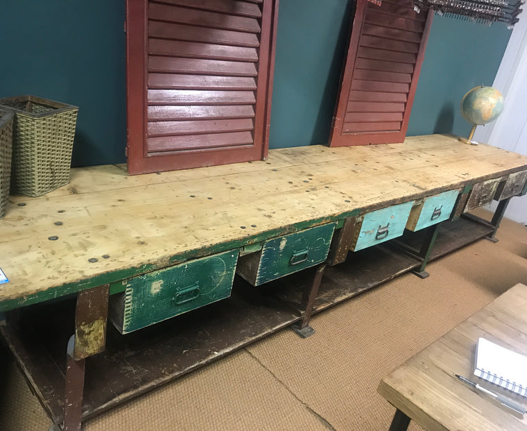 Vintage industrial European workbench table counter  kitchen island #2472.coming at the end of may container