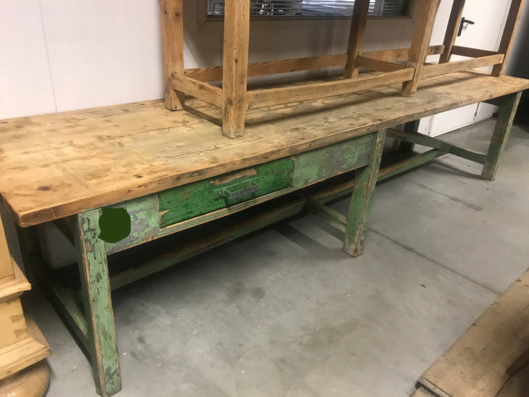 Vintage industrial European workbench table counter  kitchen island #2473.coming at the end of may container