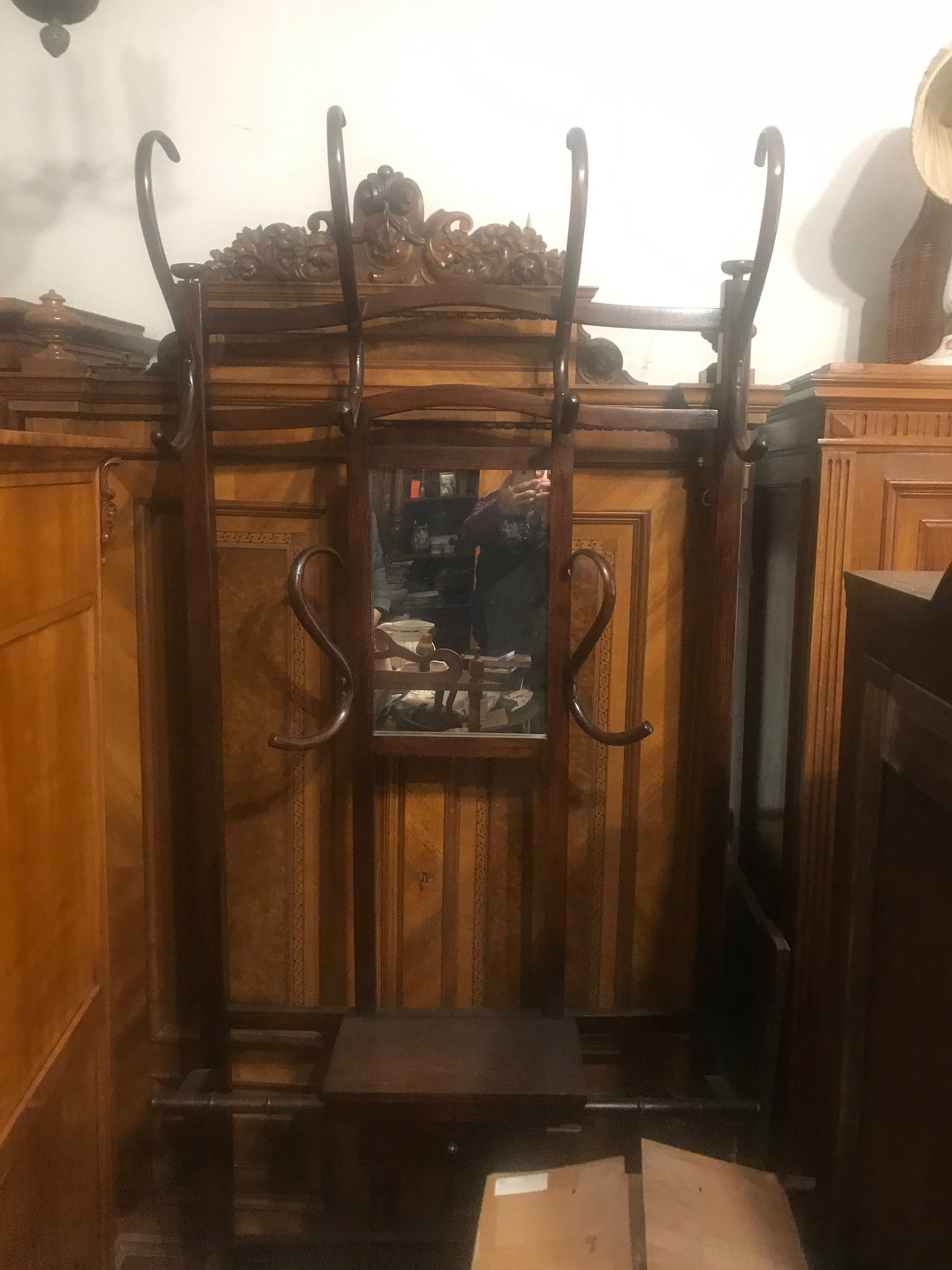 Vintage industrial wooden Czech Thonet clothing hat rack  #B2483.  BYRON