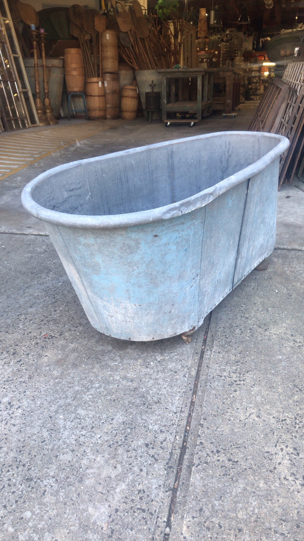 Vintage  French galvanised bath tub #2486a