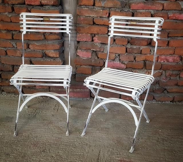 Vintage style French wrought iron Garden cafe bistro chairs  # 2497