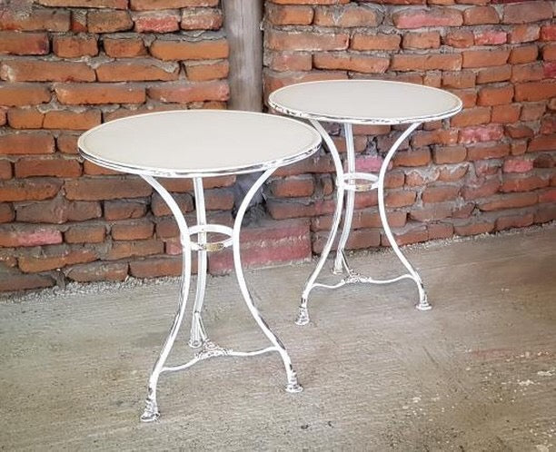 Vintage French metal cafe bistro table #2498.