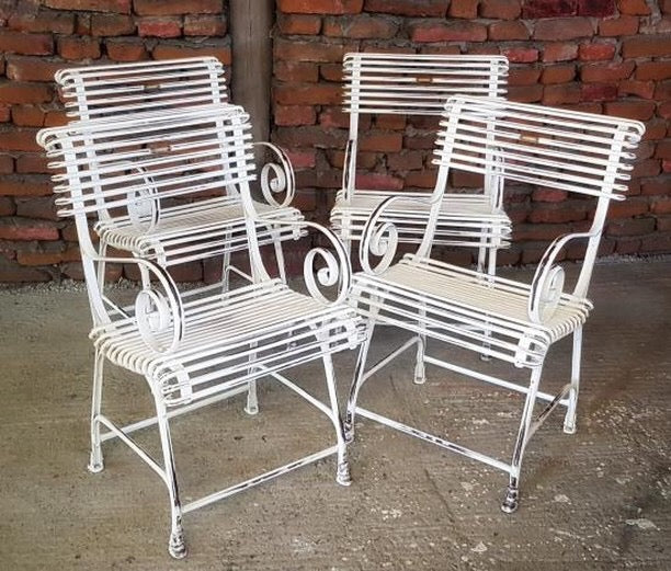 Vintage style French wrought iron Garden cafe bistro chairs  # 2500