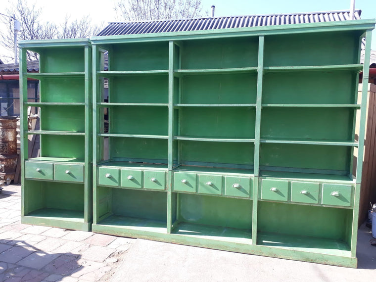 Vintage  European  pharmacy wall unit 5.0 meters #2501.coming at the end of may container