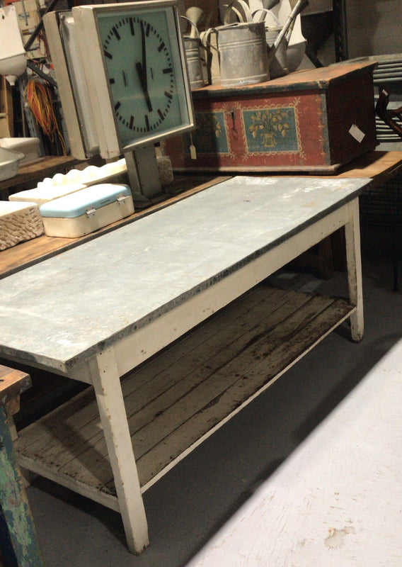 Vintage French bakers zinc top kitchen dining tables 2.0 mt #2506 Byron