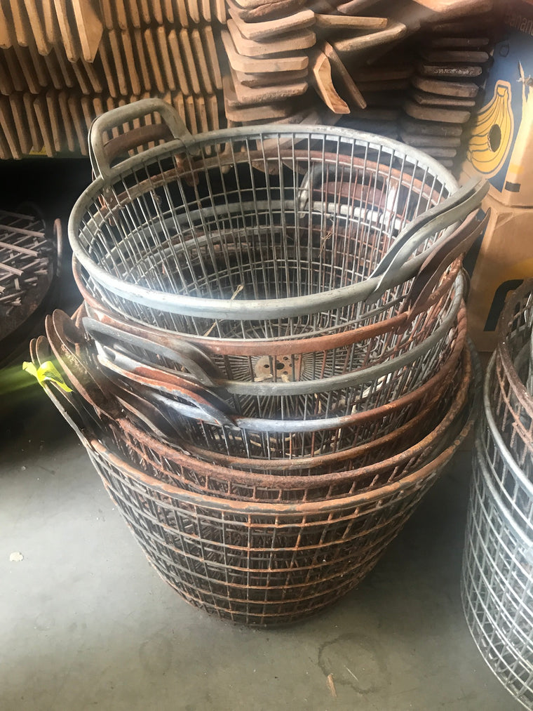 Vintage industrial wire mesh  basket #2546