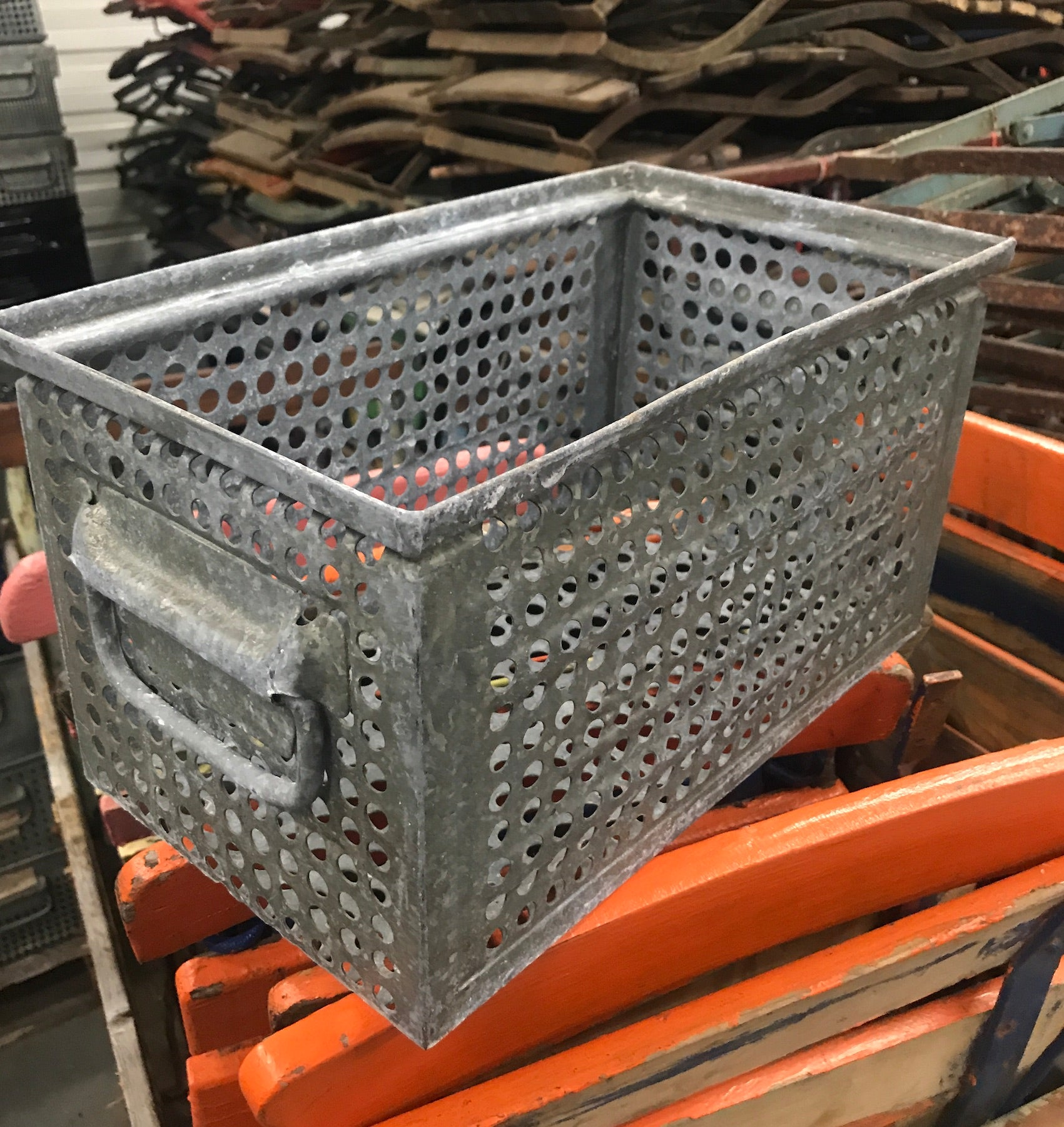 Vintage industrial wire metal crate #2553