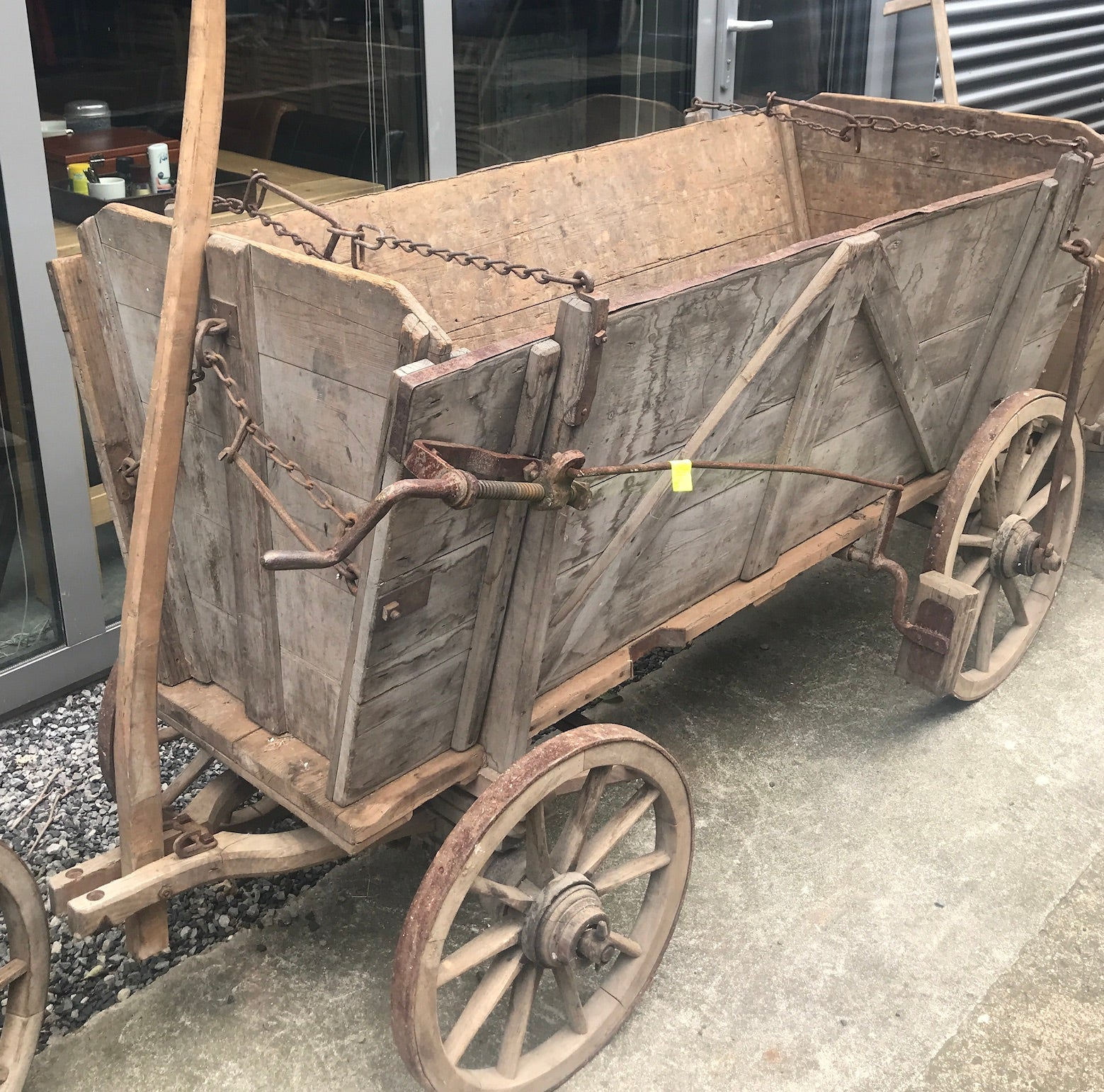 Vintage industrial European wooden pumpkin cart #2558 December container