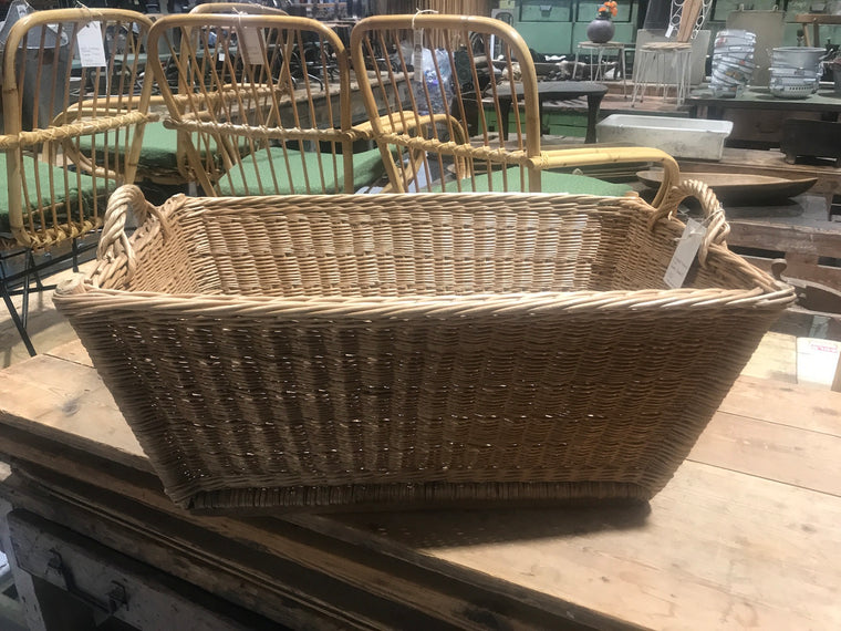 Vintage industrial French cane willow bakers basket  #2562/10