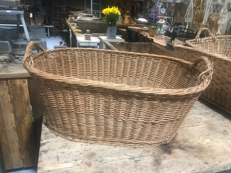 Vintage industrial French cane willow bakers basket  #2562/1
