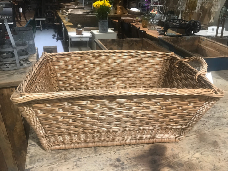 Vintage industrial French cane willow bakers basket  #2562/3