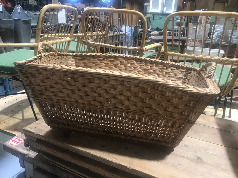 Vintage industrial French cane willow bakers basket  #2562/4