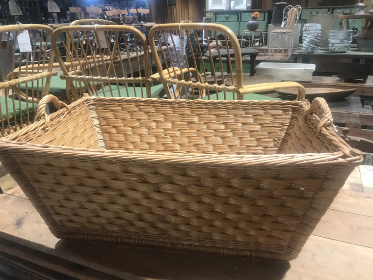 Vintage industrial French cane willow bakers basket  #2562/8