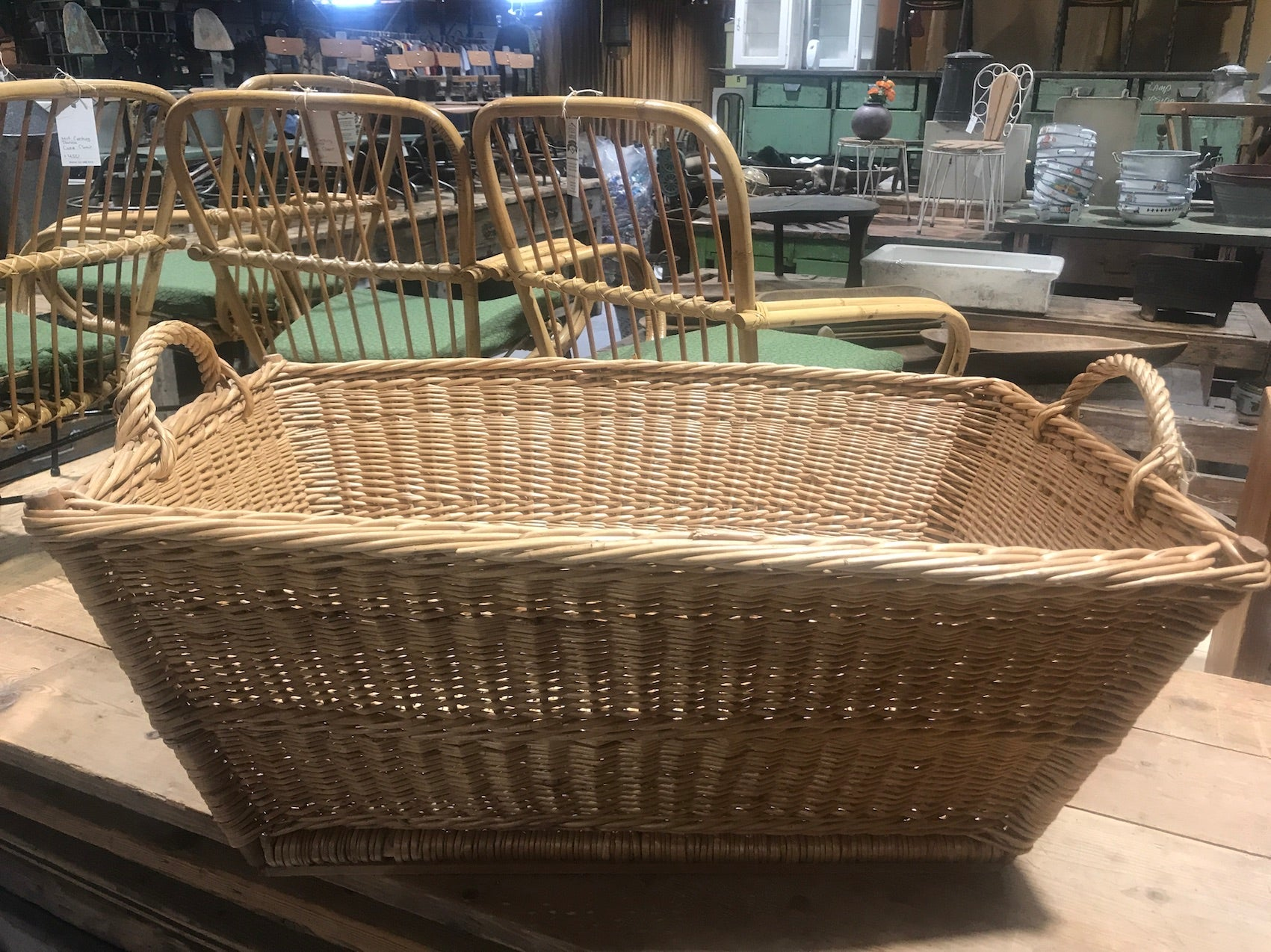 Vintage industrial French cane willow bakers basket  #2562/9