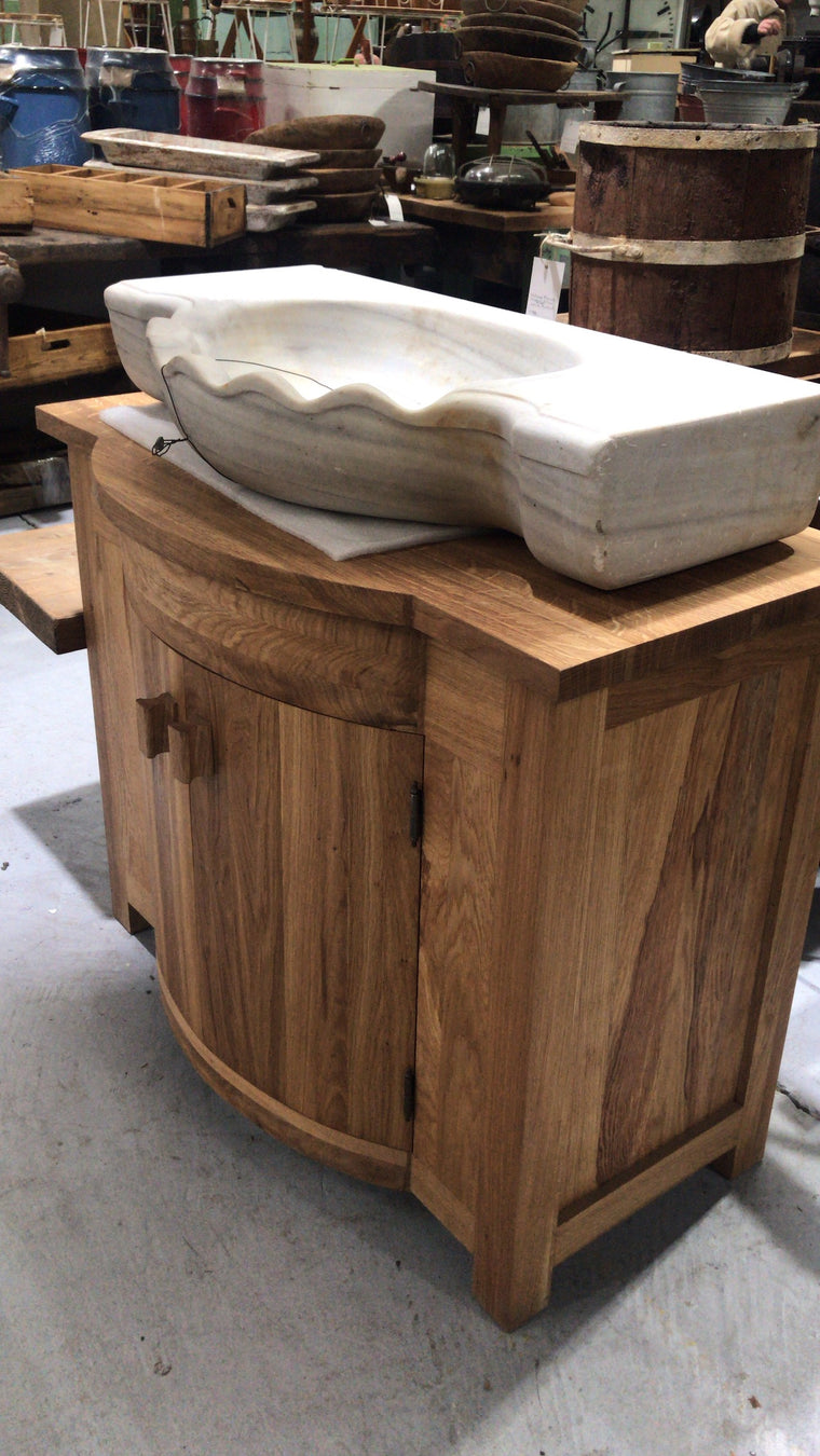 Vintage Turkish Marble sink and Oak cabinet #2563 oak CABINET ONLY