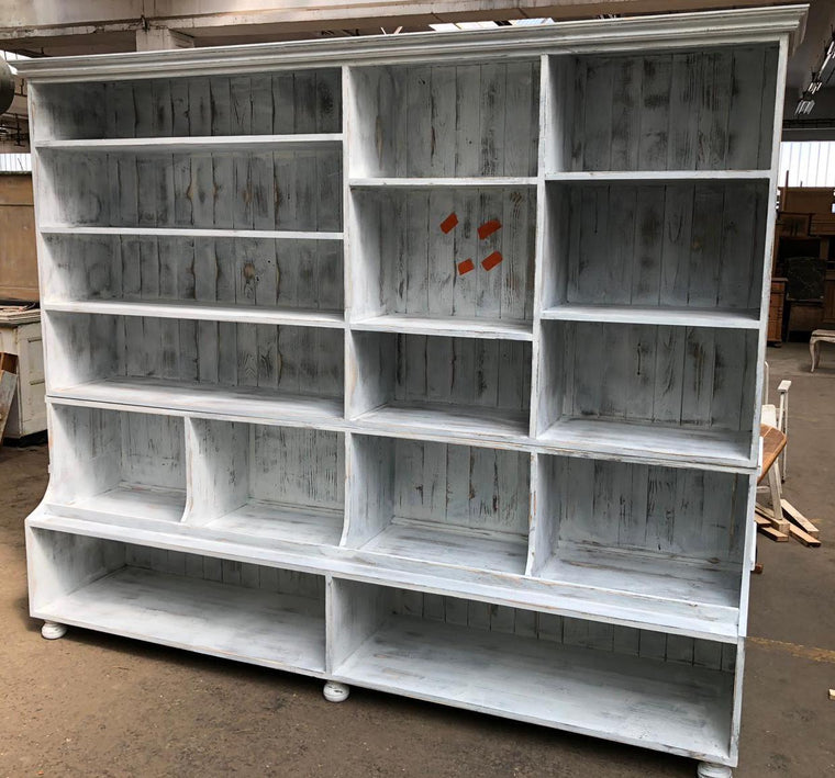 Vintage industrial European wooden general store  shelving unit #2569